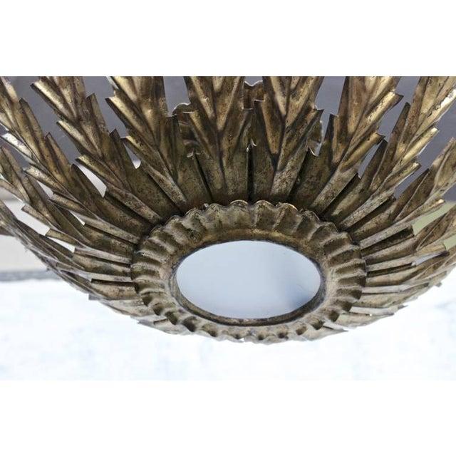 20th Century Spanish Gilt Metal Sunburst Ceiling Fixture - Image 6 of 10