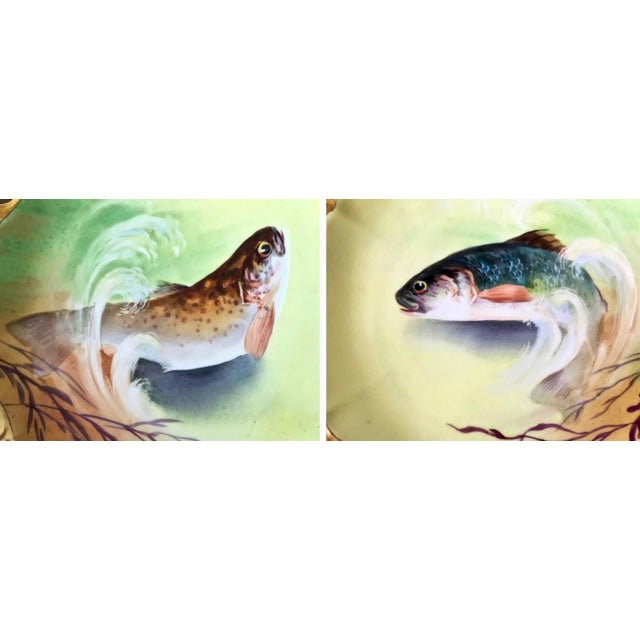 Limoges Hand-Painted Fish Service - Set of 15 - Image 4 of 10