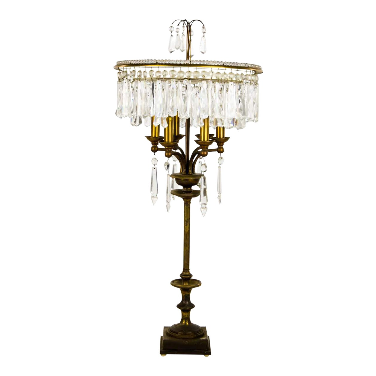 Hollywood Regency Cut Crystal 6 Light Chandelier Table Lamp Chairish