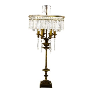 Hollywood Regency Cut Crystal 6 Light Chandelier Table Lamp For Sale