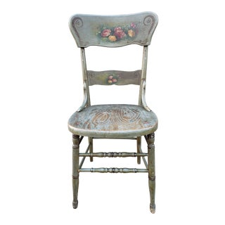 Antique Wood Hand Painted Side Chair For Sale