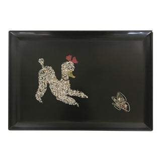 Mid-Century Couroc of Monterey Poodle & Butterfly Serving Tray For Sale