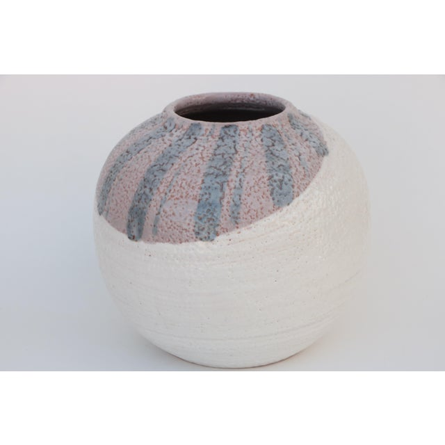 Scandinavian Style Round Pottery Vase With Stripes For Sale - Image 4 of 10