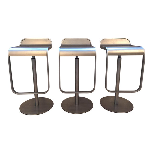 LEM Piston Stainless Steel Bar Stools- Set of 3 For Sale