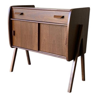 Mid Century Modern Teak Cabinet Entryway Table For Sale