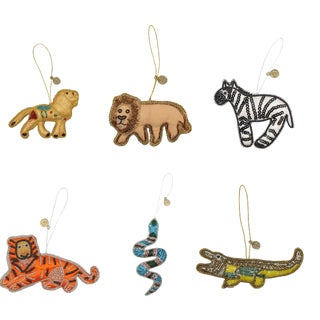 Doing Goods Holiday Ornaments Sparkling Safari Set - Set of 6 For Sale
