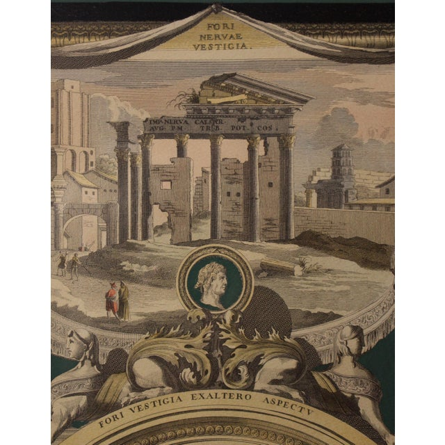 Italian Early 1800s Antique Italian Neoclassical Hand Colored Roman Temple & Ruins Engravings in Gilt Wood Frames - a Pair For Sale - Image 3 of 8