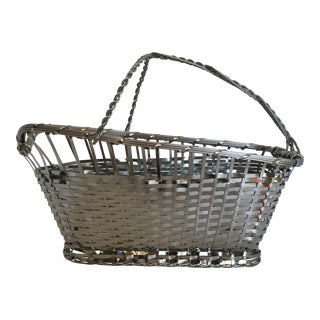 Vintage Chrome Basket With Handle Wine Holder Carafe
