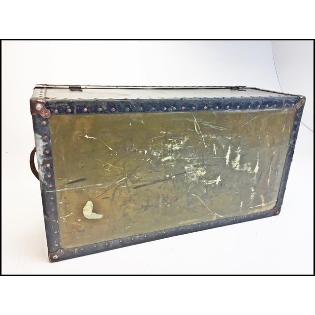 Vintage Industrial Green Us Military Foot Locker Trunk For Sale - Image 11 of 13