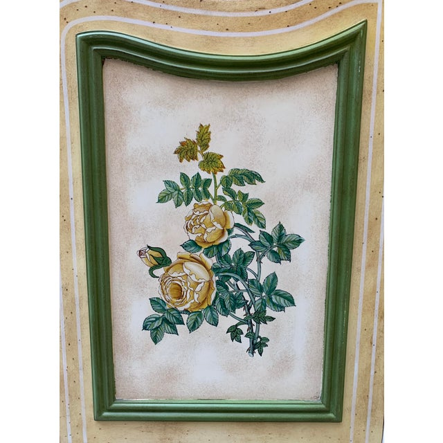 White Vintage Early 20th Century French Hand-Painted Floral Botanical Wood Screen For Sale - Image 8 of 12
