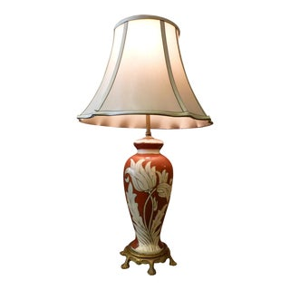 Vintage Table Lamp with Inlay Floral Design