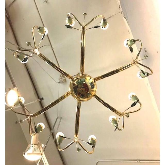 1950s Arredoluce 1950s Brass and Green Enamel Chandelier by Angelo Lelli For Sale - Image 5 of 11