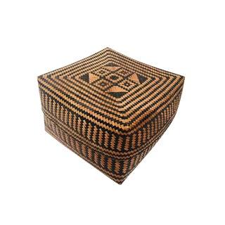 Vintage Balinese Offering Keben Lidded Storage Basket For Sale