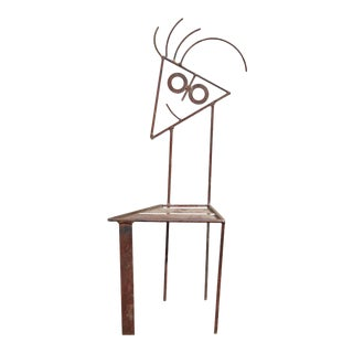 """Mid-Century Modern Style Hand Crafted Wrought Iron """"Stick Figure Face"""" Patio Chair"""