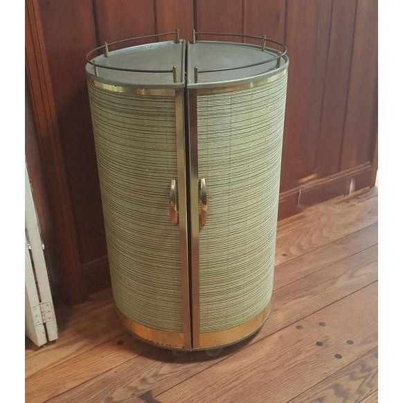 Vintage 50s Portable Round Bar Cart - Image 2 of 6