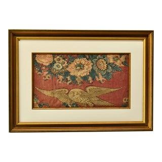1840s Americana Silk Federal Eagle Textile For Sale