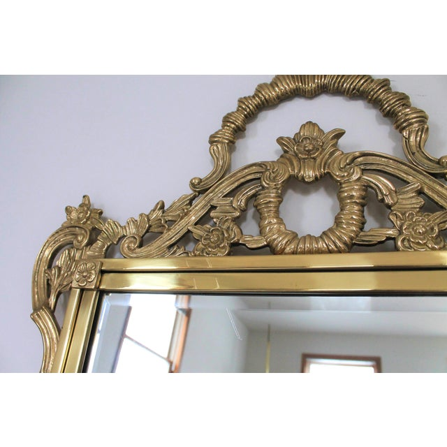 Ornate Brass Wall Mirror For Sale - Image 4 of 7