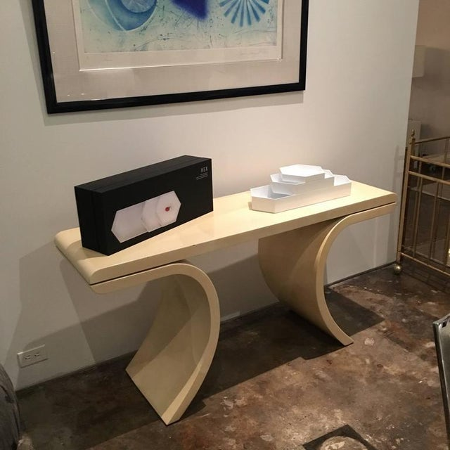 Mid Century Modern Lacquered Goat Skin Console Table in the Manner of Karl Springer - Image 6 of 10