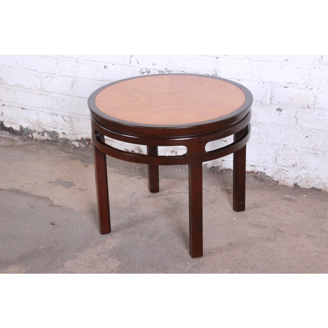 Brown Michael Taylor for Baker Furniture Chinoiserie Teak and Mahogany Side Table For Sale - Image 8 of 8