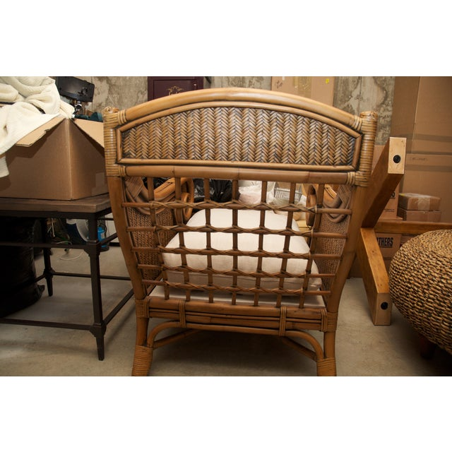 Rattan Wicker Chair & Ottoman W/ Upholstered Seat - Image 8 of 9