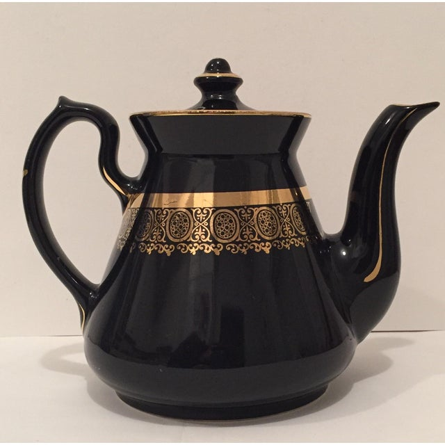 "Black and Gold Hollywood Regency ""Hall Usa"" Teapot - Image 2 of 9"