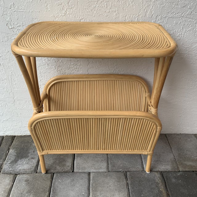Absolute simplicity and perfection. Boho chic rattan split reed magazine rack side table. Gabriella Crespi style.
