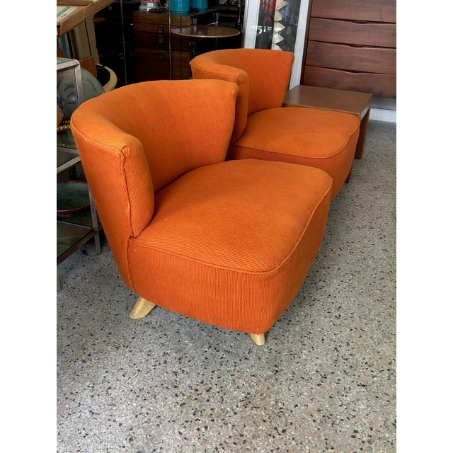 1950s Kroehler Orange Unusual Swivel Chairs A Pair For In Tampa Image 6
