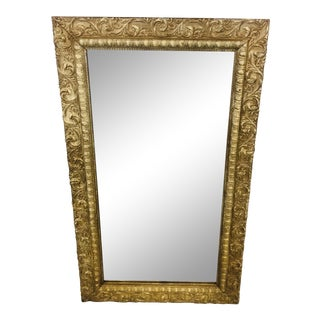 Early 20th Wood Frame Scroll Design Mirror For Sale
