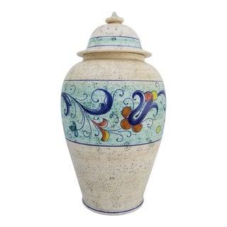 1980s Vintage Norareno Italian Hand Painted Ceramic Ginger Jar For Sale