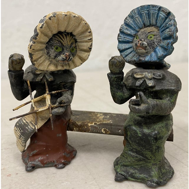 Brown Georg Heyde Painted Metal Cats With Shaking Heads C.1890s For Sale - Image 8 of 8