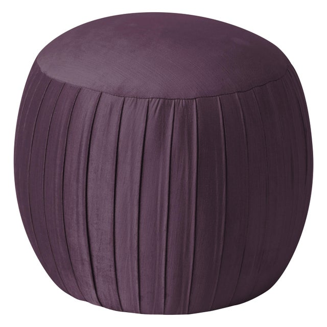 Spritely Home Round Shirred Ottoman in Majestic Plum For Sale - Image 4 of 4