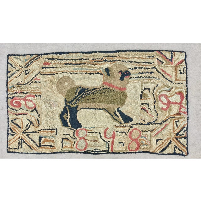 American 19th Century Pug Hooked Rug For Sale - Image 3 of 5
