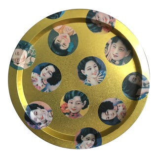 Golden Geisha Face Tin Platter by Alan Chan For Sale