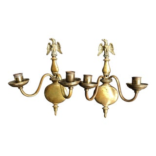 Vintage Federal Style Brass Wall Sconces With Eagle on the Top - a Pair For Sale