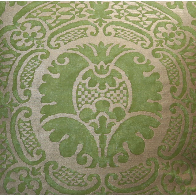 Pair of custom pillows made with Orsini patterned green and gold printed Egyptian cotton fronts and rich green colored...
