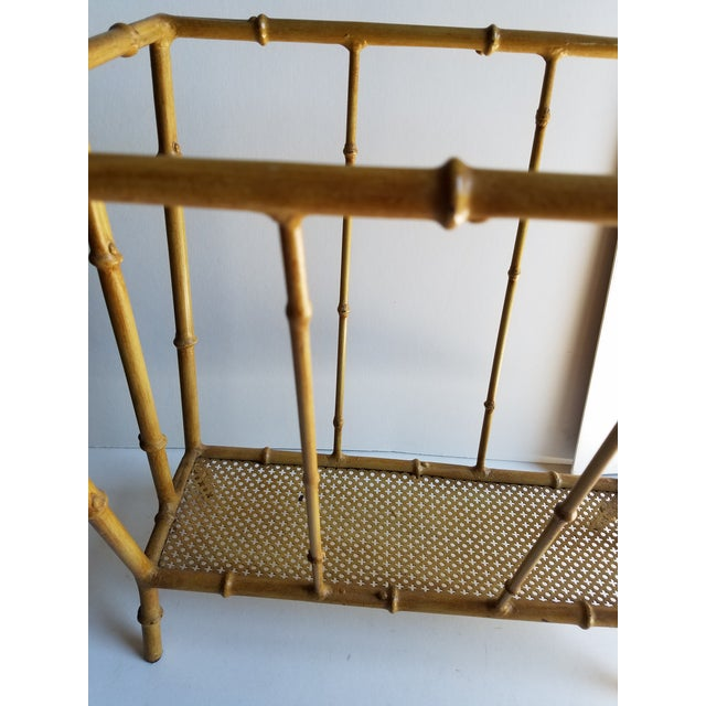 Asian Mid-Century Metal Faux Bamboo Magazine Stand For Sale - Image 3 of 4