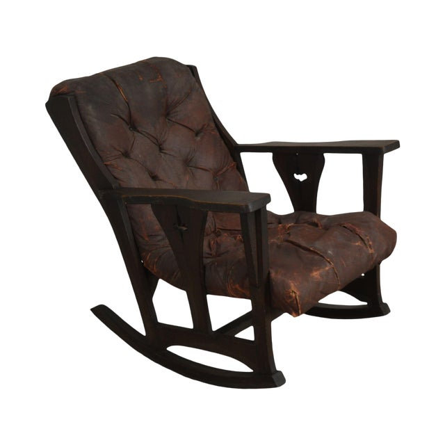 Antique Mission Arts & Crafts Period Oak Rocker With Cut Outs- Possibly Limbert For Sale