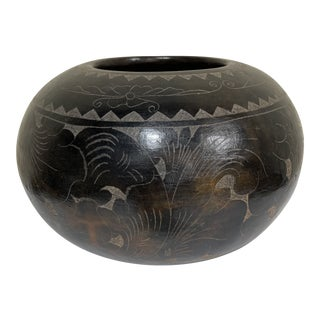 Maitland-Smith Tribal Etched Stone Vase For Sale
