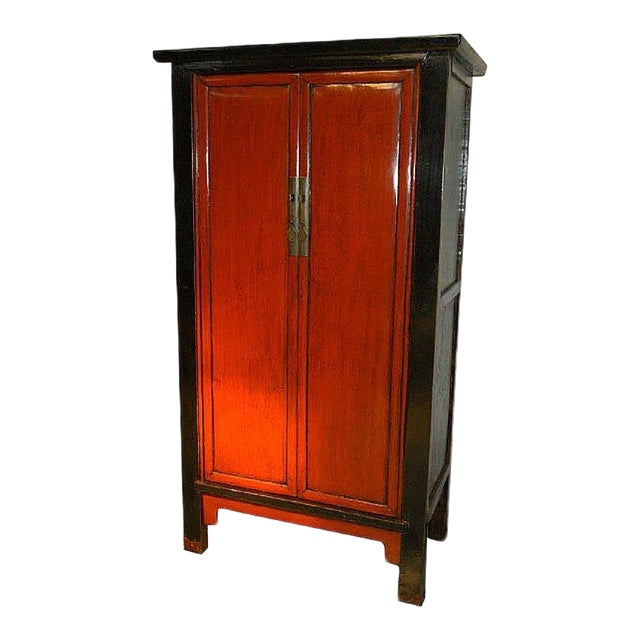 Antique Chinese Red & Black Armoire For Sale