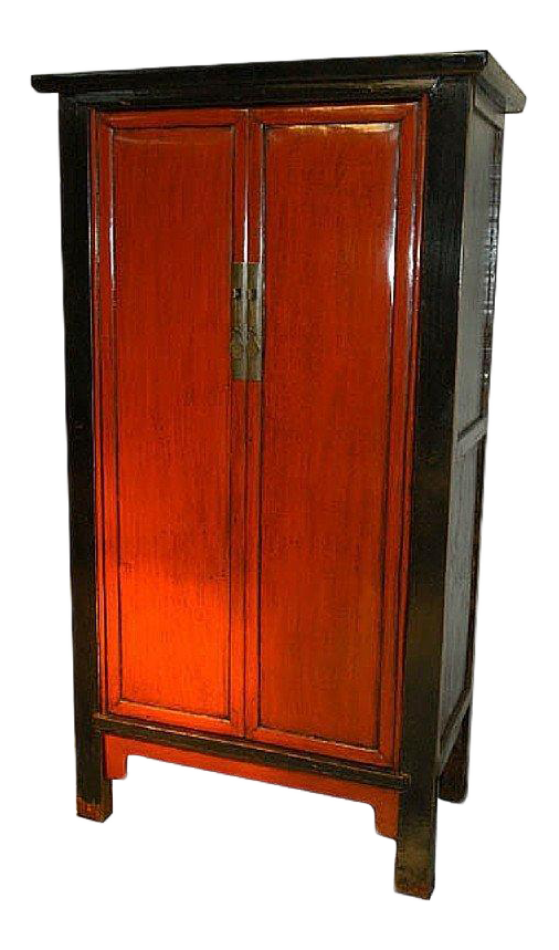 Antique Chinese Red U0026 Black Armoire