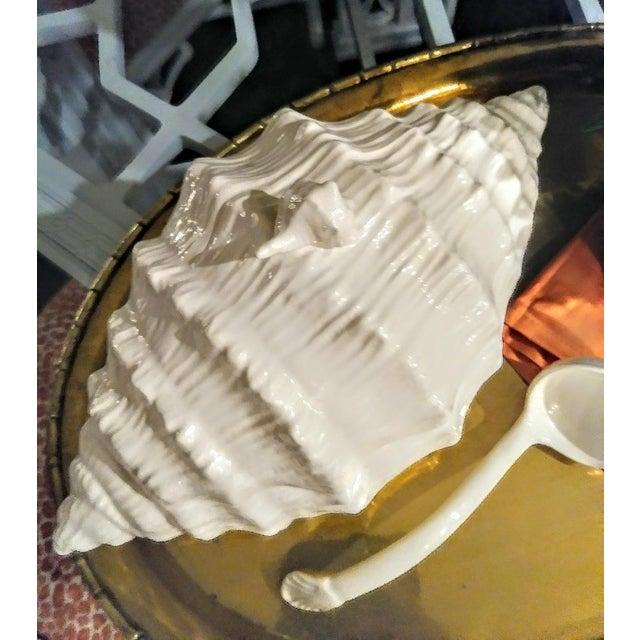 Ceramic Large Ceramic White Coastal Seashell Fitz and Floyd Style Soup Tureen Server Bowl For Sale - Image 7 of 8