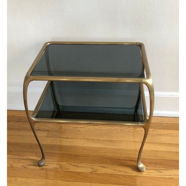 Mid 20th Century 1960s Italian Maison Baguès Style Oil Rubbed Bronze Brass Table For Sale - Image 5 of 9