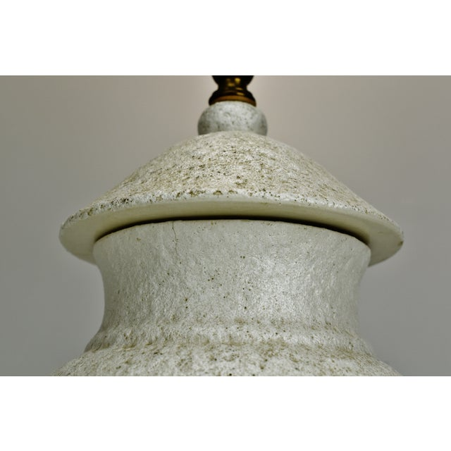 Vintage Large Textured Pottery Table Lamp For Sale - Image 9 of 13