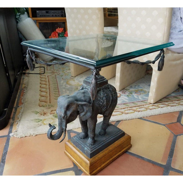 Gold 1970's Vintage Maitland Smith Bronze Leather & Glass Elephant Table For Sale - Image 8 of 13