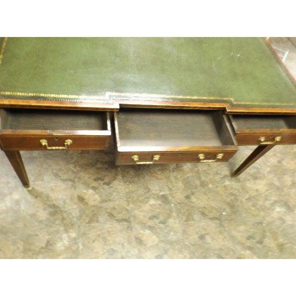 Empire Rare Vintage Original Leather Top Partner / Writing Desk For Sale - Image 3 of 6