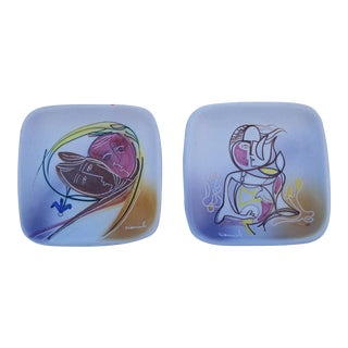 Vintage Abstract Hand- Painted Decorative Wall Hanging Plates - a Pair For Sale