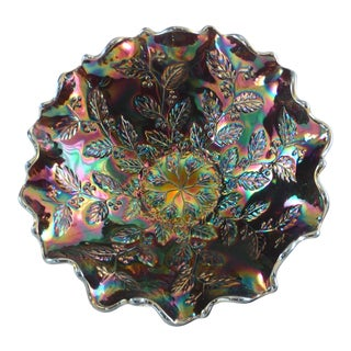 Iridescent Amethyst Leaf & Berry Bowl For Sale