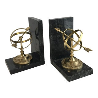 Armillary Marble and Brass Bookends - a Pair For Sale