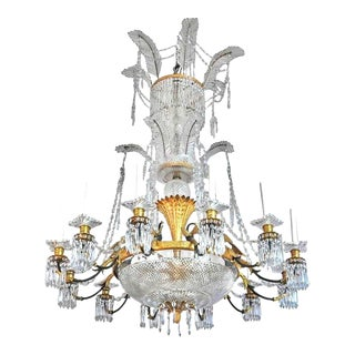 Large Baccarat Neoclassical Crystal and Ormolu Chandelier, ca 1925 For Sale