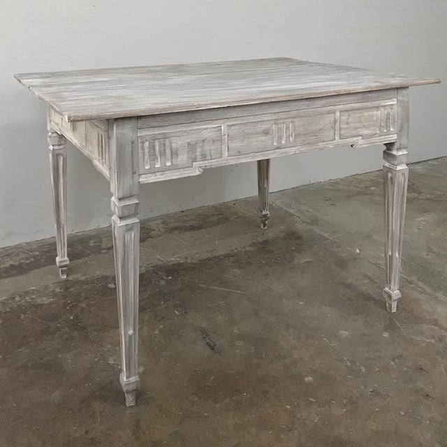 19th Century Country French Louis XVI Whitewashed End Table - Writing Table For Sale In Dallas - Image 6 of 13